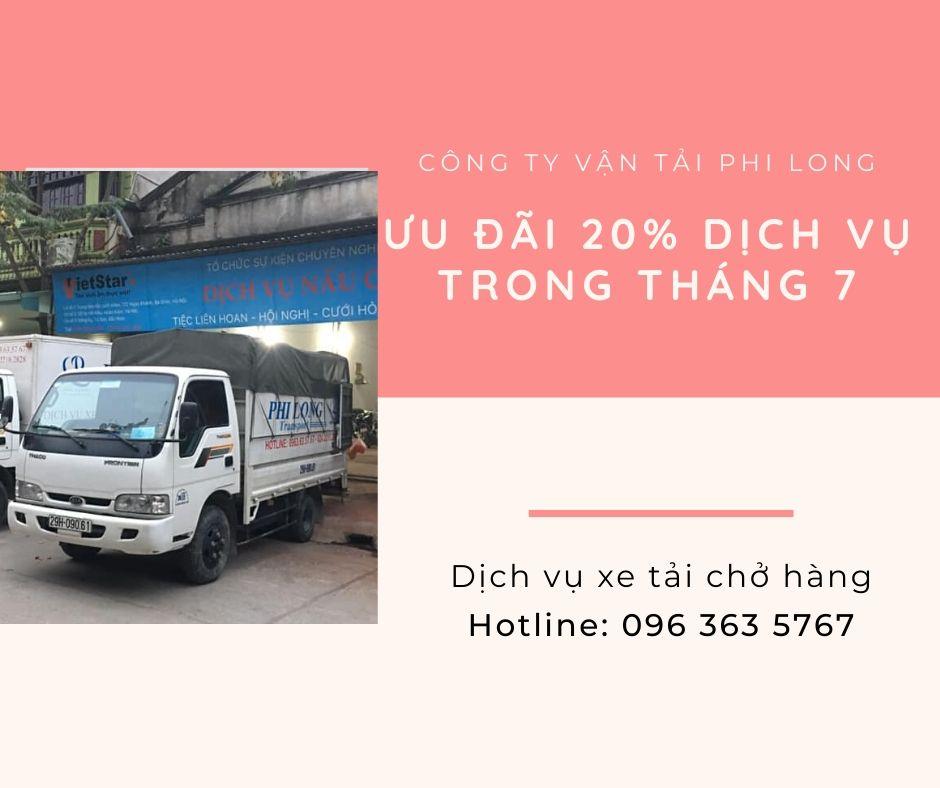 Dịch vụ xe tải Phi Long tại xã Quất Động